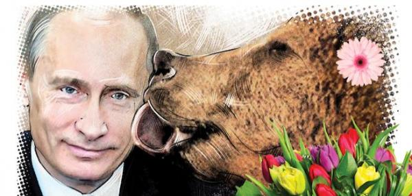 Russian-magazine-pictures-Putin-licked-by-a-bear